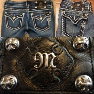 Miss Me Premium Denim Bootcut Jeans Top Stitched